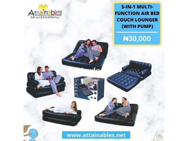5 In 1 Inflatable Multi function Double Air Bed Sofa Chair Couch - 1